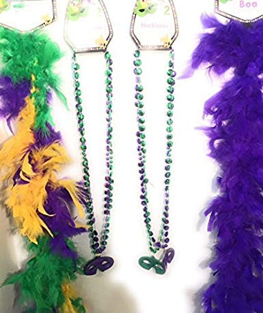(Mardi Gras Glittery Silver Masks with Colorful Boas and Beads (for 2)