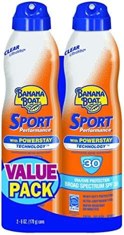 Banana Boat Sunscreen Sport Performance Broad Spectrum Sunscreen Spray, SPF 30, 6 ounces (Pack of 2)