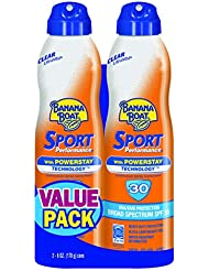 Banana Boat Sunscreen Sport Performance Broad Spectrum Sunscreen Spray, SPF 30, 6 ounces (Pack of 2)