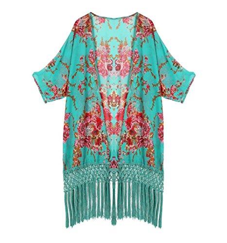Y&L Frauen-Chiffon-Bademode Gedruckt Vertuschung Kaftan Sommer T-Shirt Kleid Grün