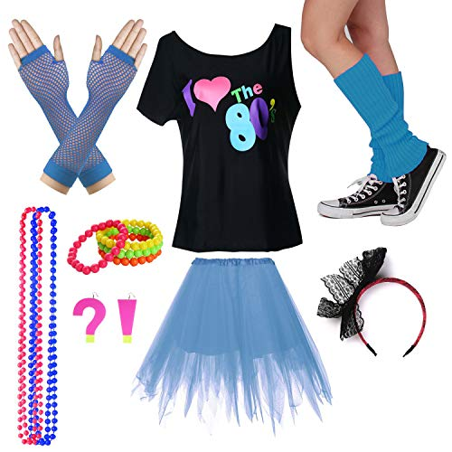 I Love The 80's T-Shirt Fancy Outfit Dress for 1980s Theme Party Supplies (XL/XXL, Sky Blue) -
