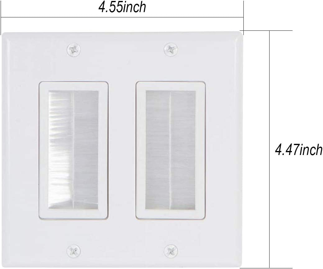 Brush Wall Plate White WI1016WH-2 Built-in 1 Gang Mounting Bracket Larg-Cut Cable Wall Plate Pass Through for Low Voltage Cables of Audio Video HDMI HDTV Home Theater