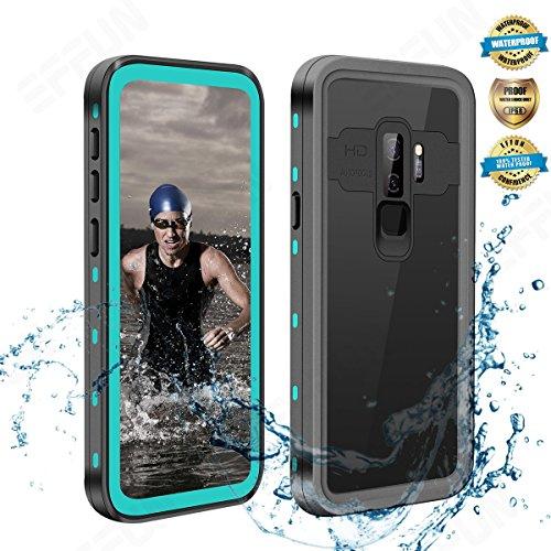 Samsung Galaxy S9 Plus Waterproof Case, Effun IP68 Certified Waterproof Underwater Cover Dust/Snow Proof Shockproof Case for Galaxy S9 Plus with Phone Stand, PH Test Paper and Floating Strap Aqua Blue