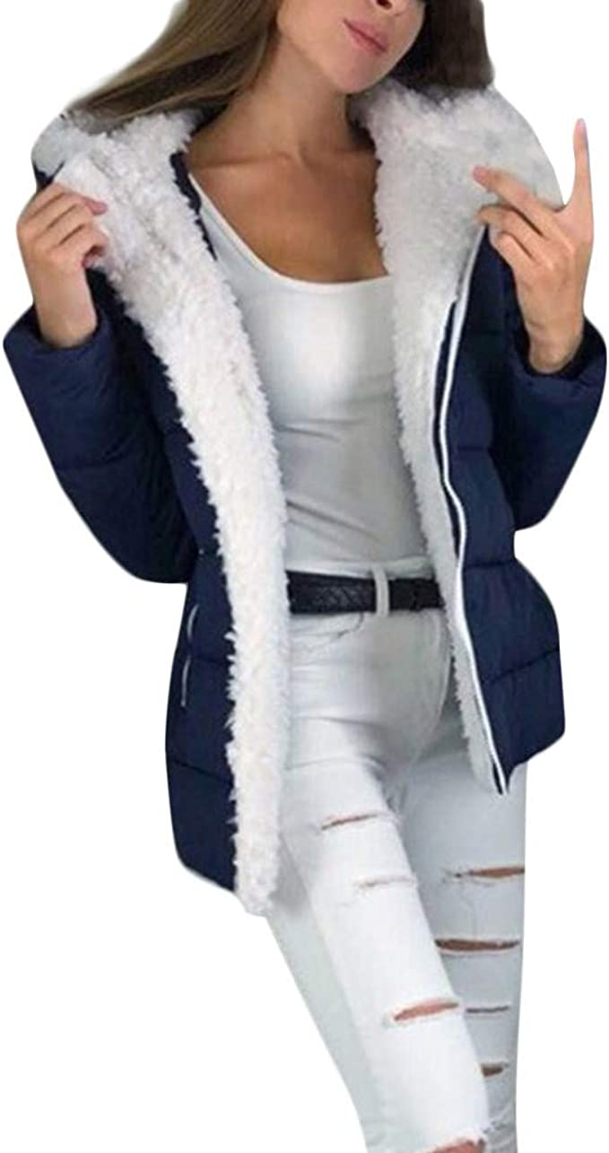 Donna Cappotto da Donna Casual Warm Winter Risvolto Zip Up