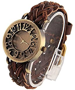 Watch City Jay Enterprise Brown Leather Belt Quartz Movement Analogue Gold Dial Girl's Watch (JE-75)