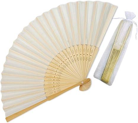 Amazon.com: Sparkly Time - Abanicos de bambú de seda con ...