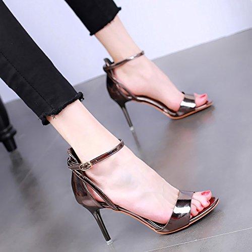 YMFIE moda de verano de estilo europeo con temperamento ahuecó sexy toe sandalias de tacón damas zapatos de tacón alto,33 ue,b 33 EU