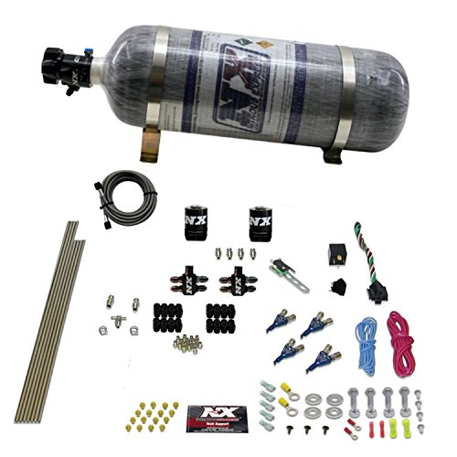 Nitrous Express 80004EFI-12 50-200 HP 4-Cylinder Gasoline EFI Piranha Nozzle System with 12 lbs. Composite Bottle