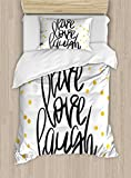 Ambesonne Live Laugh Love Duvet Cover Set Twin Size, Stylized Hand Lettering on Dotted Backdrop Inspirational Phrase, Decorative 2 Piece Bedding Set with 1 Pillow Sham, Black White Yellow