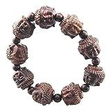 FOY-MALL Red Sandalwood Carved Buddha Head Stretch Bracelet E1142