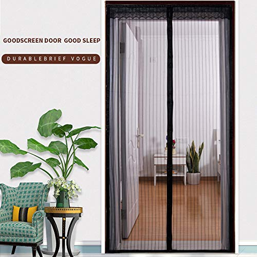 Magnetic Screen Door 36x82 Inch with Heavy Duty Mesh Curtain,Mosquito-Proof,Full Frame Seal, Black ()