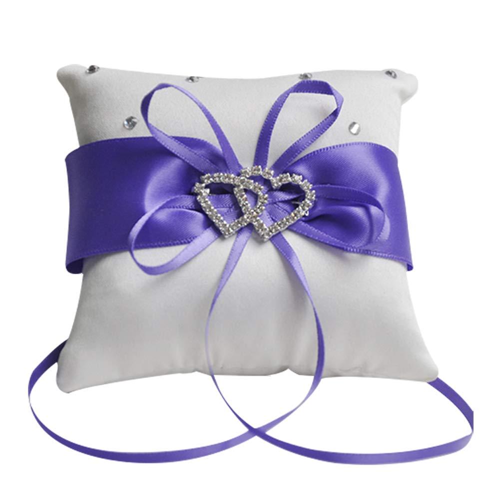 Zentto - Cojín para anillos de boda, diseño romántico, 10 x 10 cm (1 pieza), Cinta, morado, Altura 100 cm
