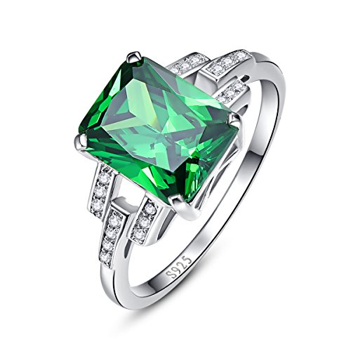 BONLAVIE Solid 925 Sterling Silver Emerald Cut Created Green Emerald Cubic Zirconia Solitaire Engagement Ring Size 6.5 ()
