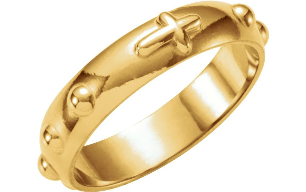 14k Yellow Gold Rosary Ring, Size 4