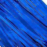 Aspire Set Of 2 Metallic Foil Fringe Table Skirt Door Window Curtain Party Decoration Photo Backdrops-Blue-40 X160