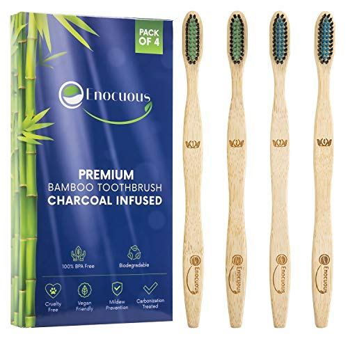 Enocuous Premium Biodegradable Bamboo Toothbrushes, Charcoal Infused, 100% BPA Free, Vegan friendly, Eco-Friendly, Cruelty-Free, Compostable