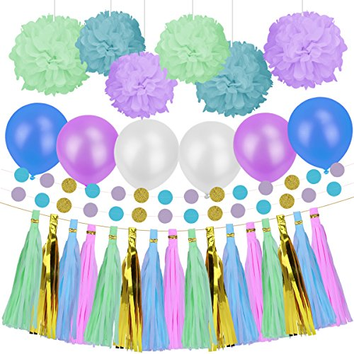 Party Decorations Paper Kit for Birthday Wedding Christmas Party Supplies Set (Blue Purple and Green)