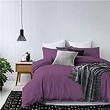 Purple and Gold Duvet Cover 3 Pieces Dark Purple Duvet Cover Set Solid Color Microfiber Bedding Queen(90