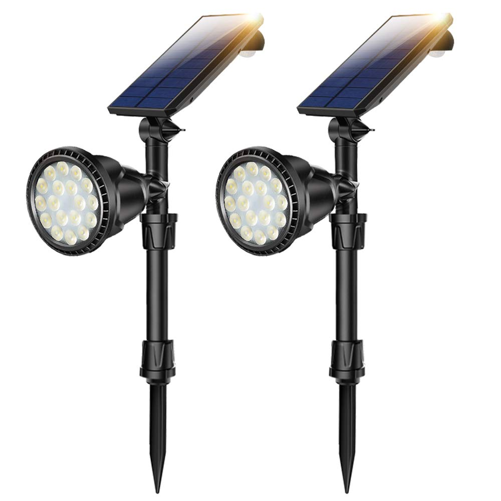 Solar Spot Lights, Outdoor 18 LED Landscape Lamps Super Bright Spotlight Waterproof Flood Lamp with Motion Sensor for Deck Yard Garden Garage Driveway (Yellow Light)