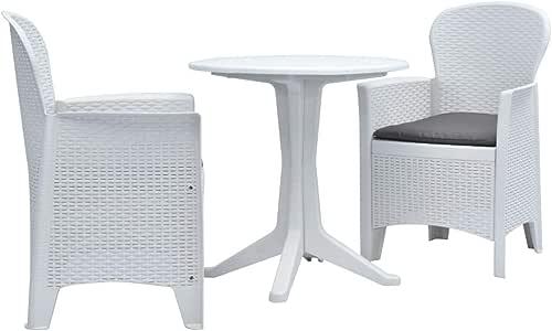 Tidyard Conjunto de terraza o balcón Juego de Mesa y sillas de jardín bistró 3 pzas plástico Blanco: Amazon.es: Hogar