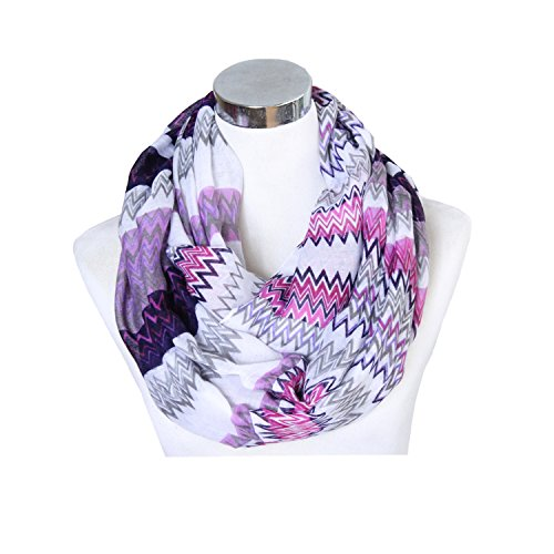 Lucky Leaf Women Large Lightweight Cozy Infinity Loop Scarf Chevron Zig Zag Printed (Purple)
