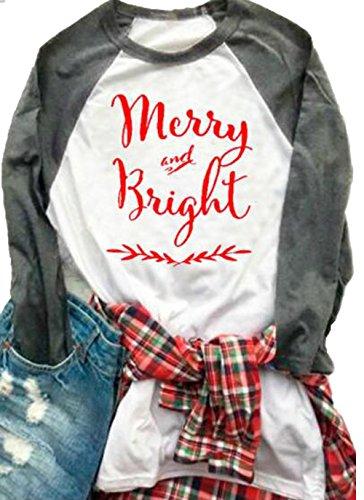 JINTING Womens Merry Christmas Ya Filthy Animal Letters Print Tee Baseball Raglan TShirt size US L/Tag XL (Gray A) Christmas Shirts