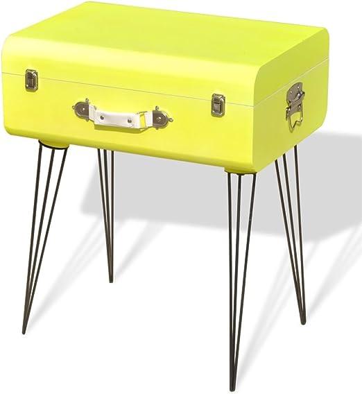 vidaXL Mueble Mesa Auxiliar Vintage de Color Amarillo Dimensiones ...