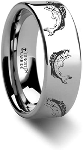 Thorsten BASS Fish Jumping Lake Stream Sport Fish Print Pattern Flat Black Tungsten Ring 8mm Wide Wedding Band from Roy Rose Jewelry
