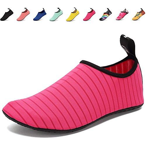Fidus Water Shoes Women Men and Kids Lightweight Quick Drying Barefoot Aqua Socks Beach Swimming Pool Yoga Shoes-A6-rose-36-37