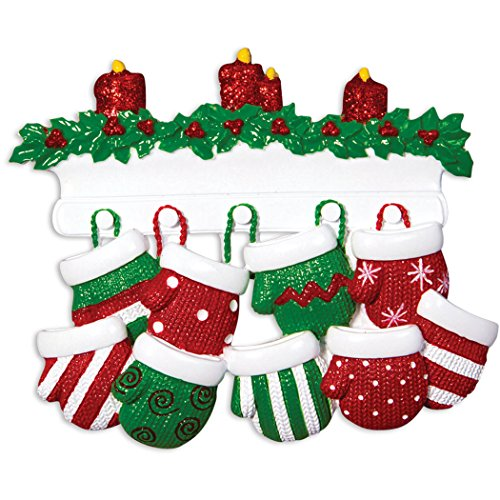 Name Ornament Personalized (Personalized Mitten Family of 9 Christmas Ornament - Knit Winter Stocking Gloves Mantle Candles - Parent Children Friend Glitter Gift Tradition First Winter - Free Customization by Elves (Nine))