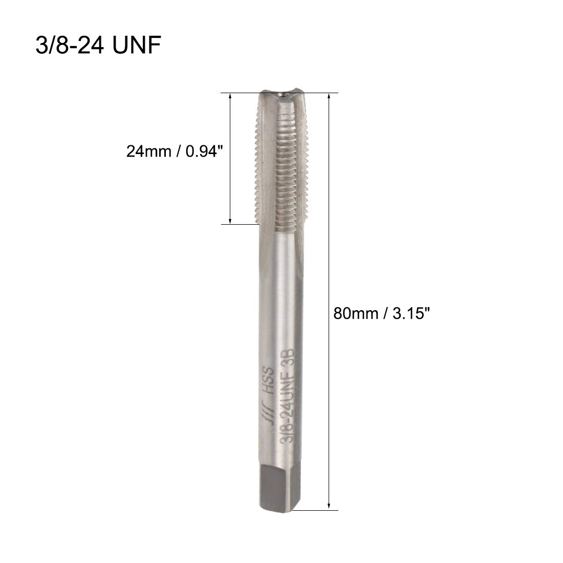 sourcing map Machine Tap 6-32UNC Thread Pitch 2A Class 3 Flutes High Speed Steel 2pcs