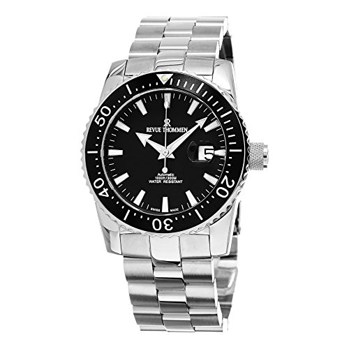 Revue Thommen Diver 46 MM Mens Black Dial Stainless Steel Automatic Date Swiss Watch - Stocks Less Dollars For Than Best 5