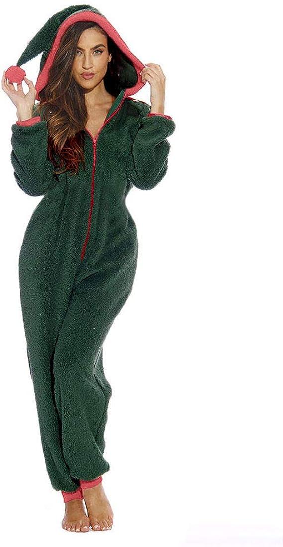 Combinaison noel imprimé une pièce à capuche manches longues décontracté femme noir vert
