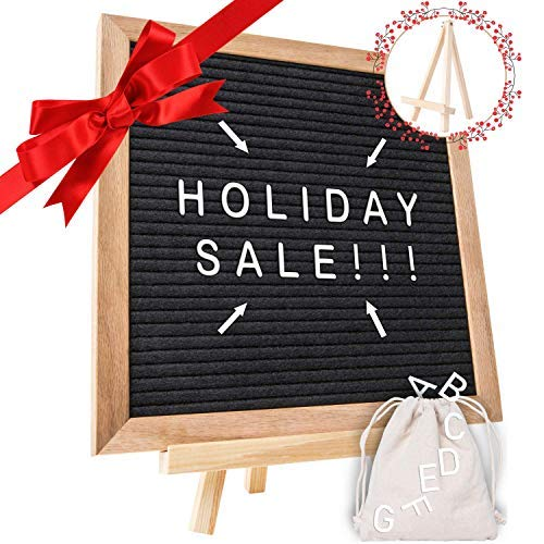 Holiday Deal! - Black Felt Letter Board with 10X10 Wooden Frame and Stand. Includes 340 Changeable Pre-Cut Letters, Numbers & Emojis Separated in Canvas Bag - Best for Sharing Your Message. -