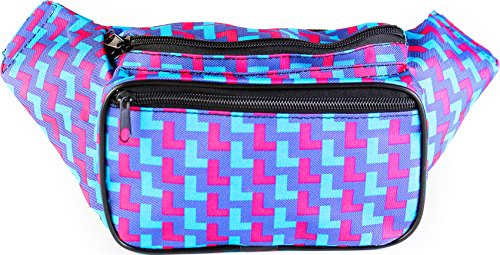 SoJourner Bags Fanny Pack - 80's 90's Neon Party (Blue and Pink)