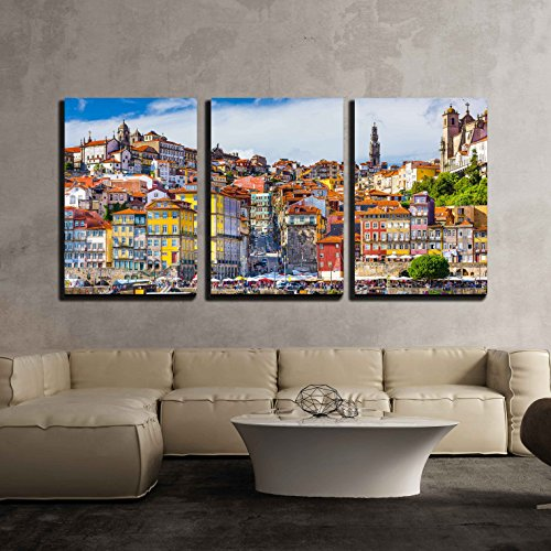 wall26 - 3 Piece Canvas Wall Art - Porto, Portugal Old Town Skyline from Across the Douro River. - Modern Home Decor Stretched and Framed Ready to Hang - 16