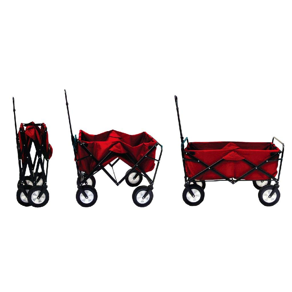 Mac Sports Collapsible Outdoor Utility Wagon with Folding Table and Drink Holders Maroon