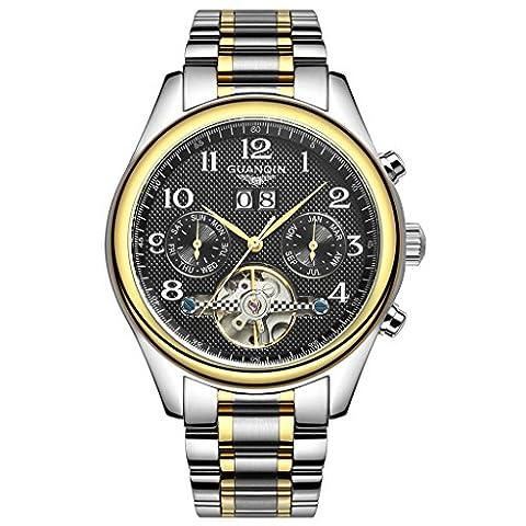 Swiss Brand GUANQIN Tourbillon Watches Classic Sapphire Waterproof Watches Men Automatic Mechanical Wind Up Wrist Watches (Black Dial Golden Bezel (Swiss Mens Classic)