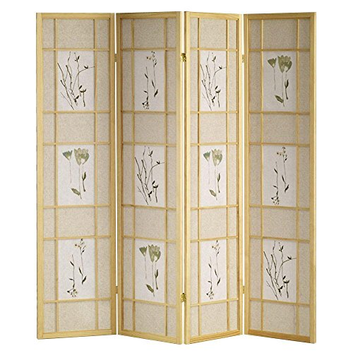SINTECHNO S-AD5442-4N 4-Panel Nature Floral Room Divider Folding Screen - 72' Room Divider