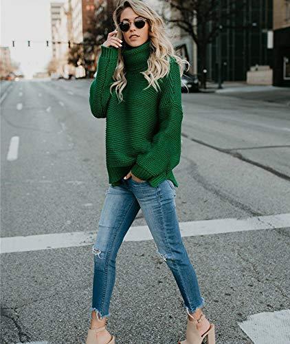 Maglione manica maglia manica a a lunga girocollo lavorato lunga Verde largo collo con a rTqYrx4