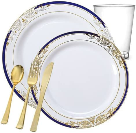 Amazon Com Posh Party Supplies White Disposable Plastic Dinnerware Package With A Blue Gold Rim For 20 Guests Includes Dinner Dessert Plates Plastic Tumblers Cutlery 120 Piece