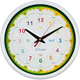 Elvoki Time Telling Teacher Children's Wall Clock - Silent Non-Ticking – Learn to Tell Time Large 12.5 inch, White