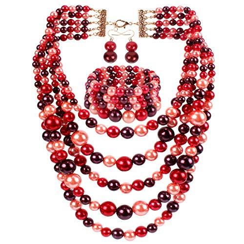 KOSMOS-LI Faux Pearl Strands Necklace Bracelet Earrings