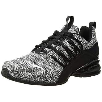 PUMA Men's Axelion Sneaker, Black-White, 12 W US