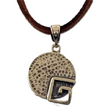 5af6b943e40 Amazon.com   Ancient Greek Spiral Motif Sterling Silver Round Pendant with  leather cord (17mm)