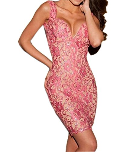 Sexy Ladies Pink Shiny Floral Lace Backless Deep V Neck Bodycon Dress (Pink)