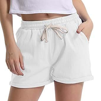 Gooket Women's Elastic Waist Cotton Linen Casual Beach Shorts with Drawstring White Tag M-US 2-4-4