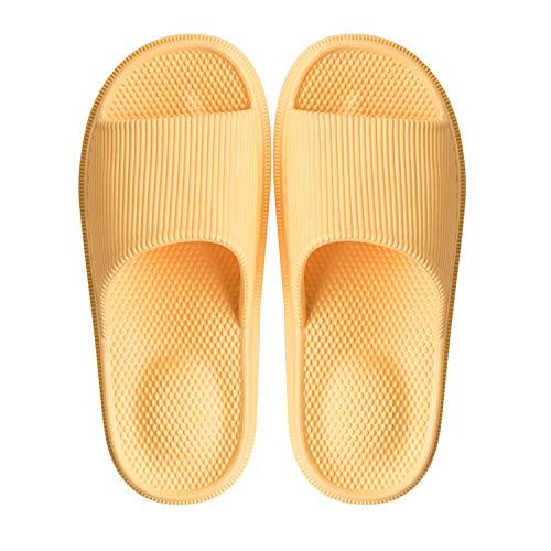 WYSBAOSHU Massage Foam Bathroom Slippers Non-Slip Spa Shower Sandal for Mens/Womens(6.5-7.5 B(M) US Women,Yellow)