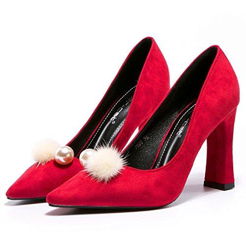 Élégant Perle Escarpin 38 Chaussure Chaussure Rouge Talon Fermé Mode Escarpin Pointu Inconnu Suede Femme Pompon Bloc wCZEgOqqPv