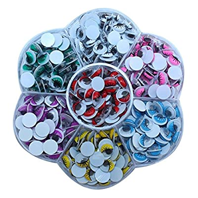 DECORA 470 Pieces 8mm Mixed Colors Wiggly Googly Eyes With Eyelash DIY Scrapbooking Crafts Toy Accessories